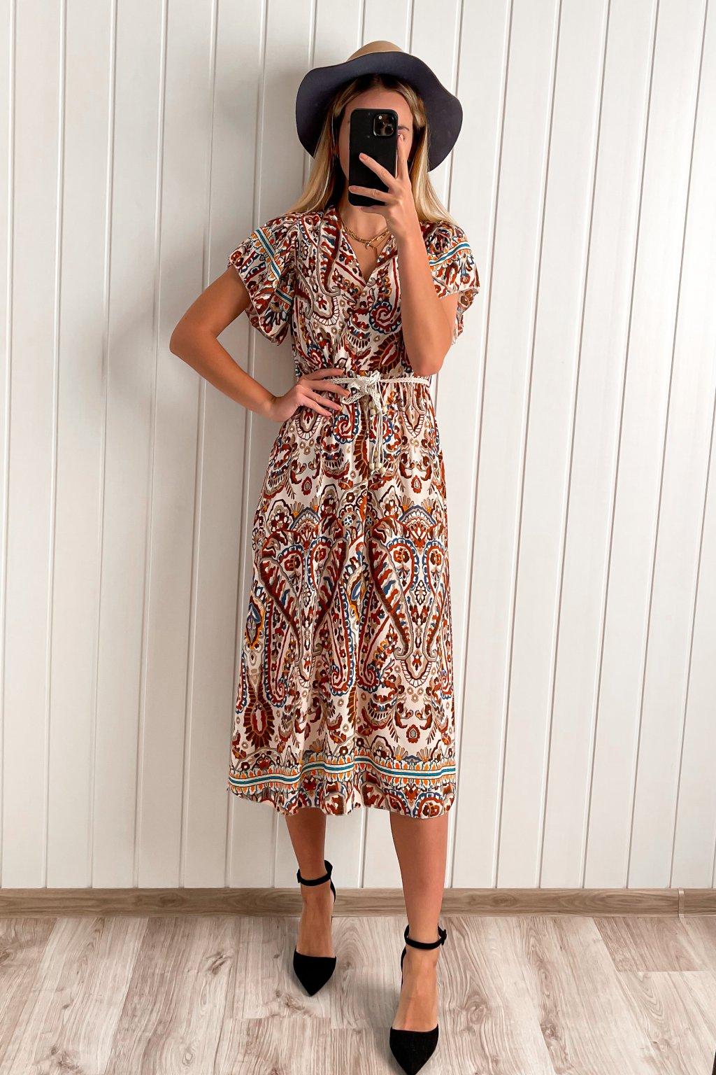 Viskozové šaty s etno vzorom