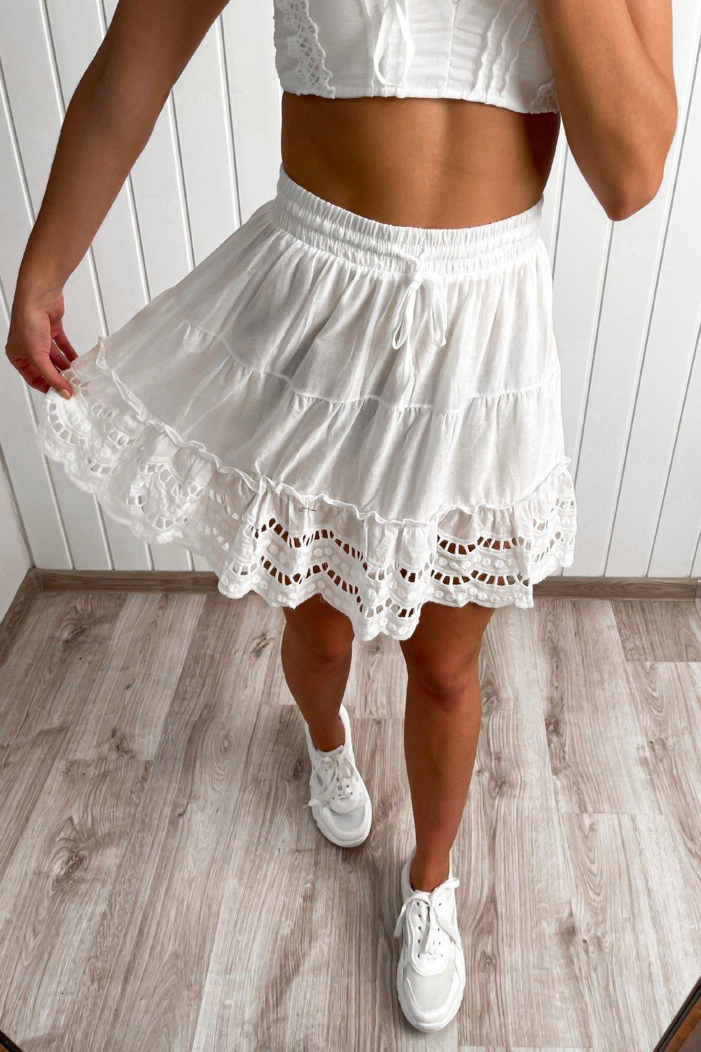Biela madeirová sukňa