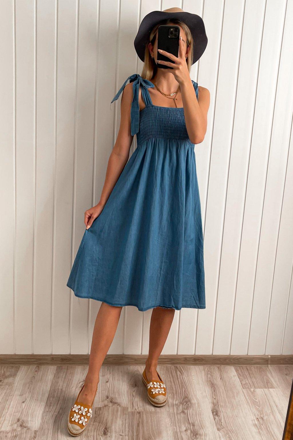 Denimové šaty s mašľami