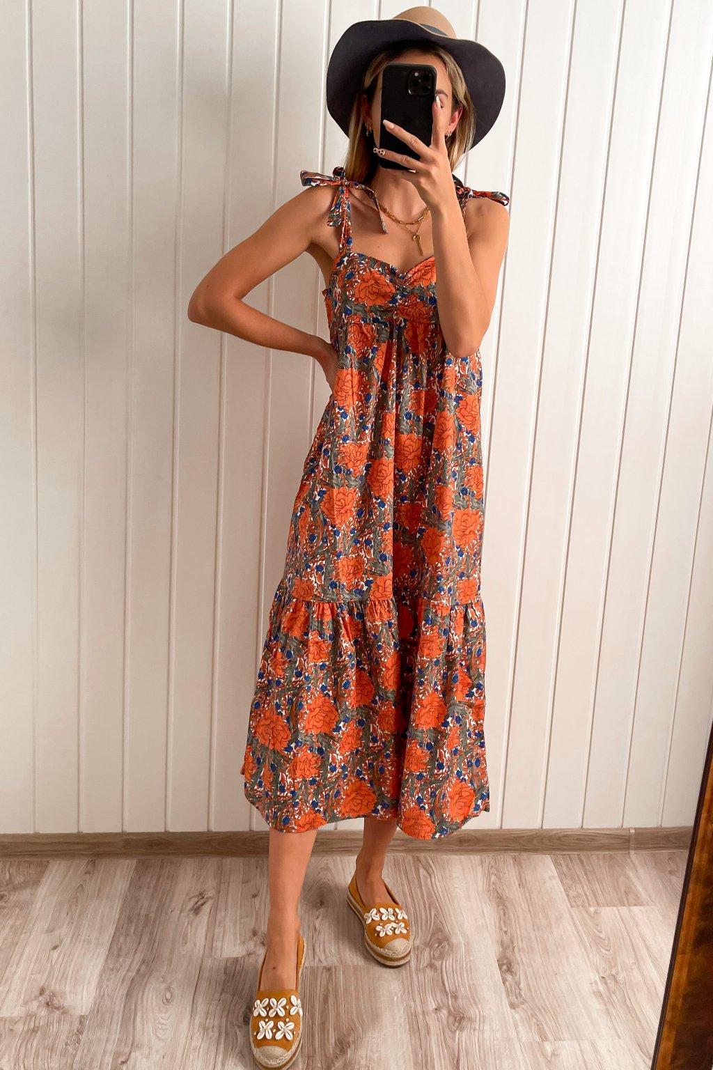 Kvetinové midi šaty