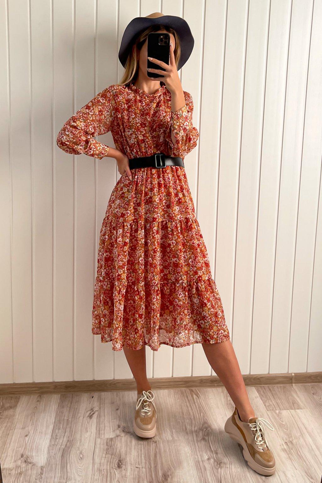 Kvetinové šaty s dlhým rukávom midi