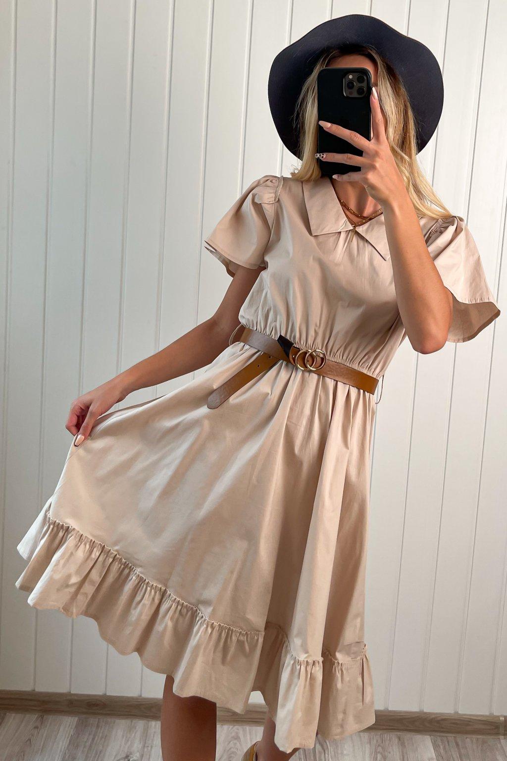 Bavlnené šaty béžové