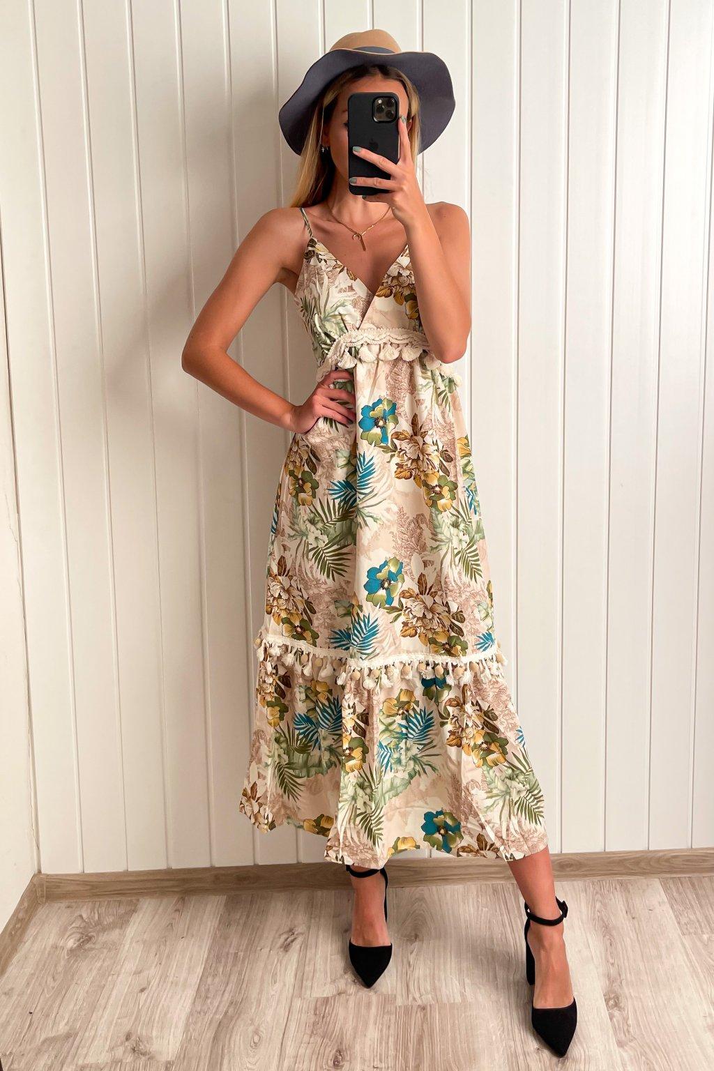 Kvetinové šaty v midi dĺžke
