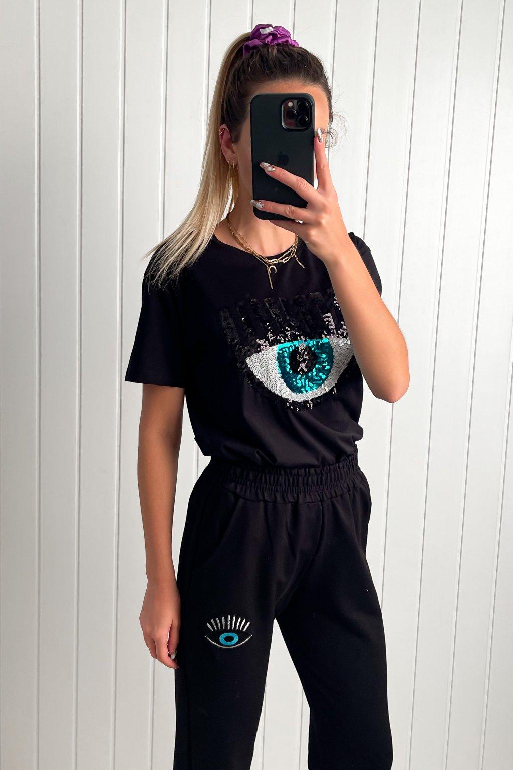 Čierne tričko s dizajnom