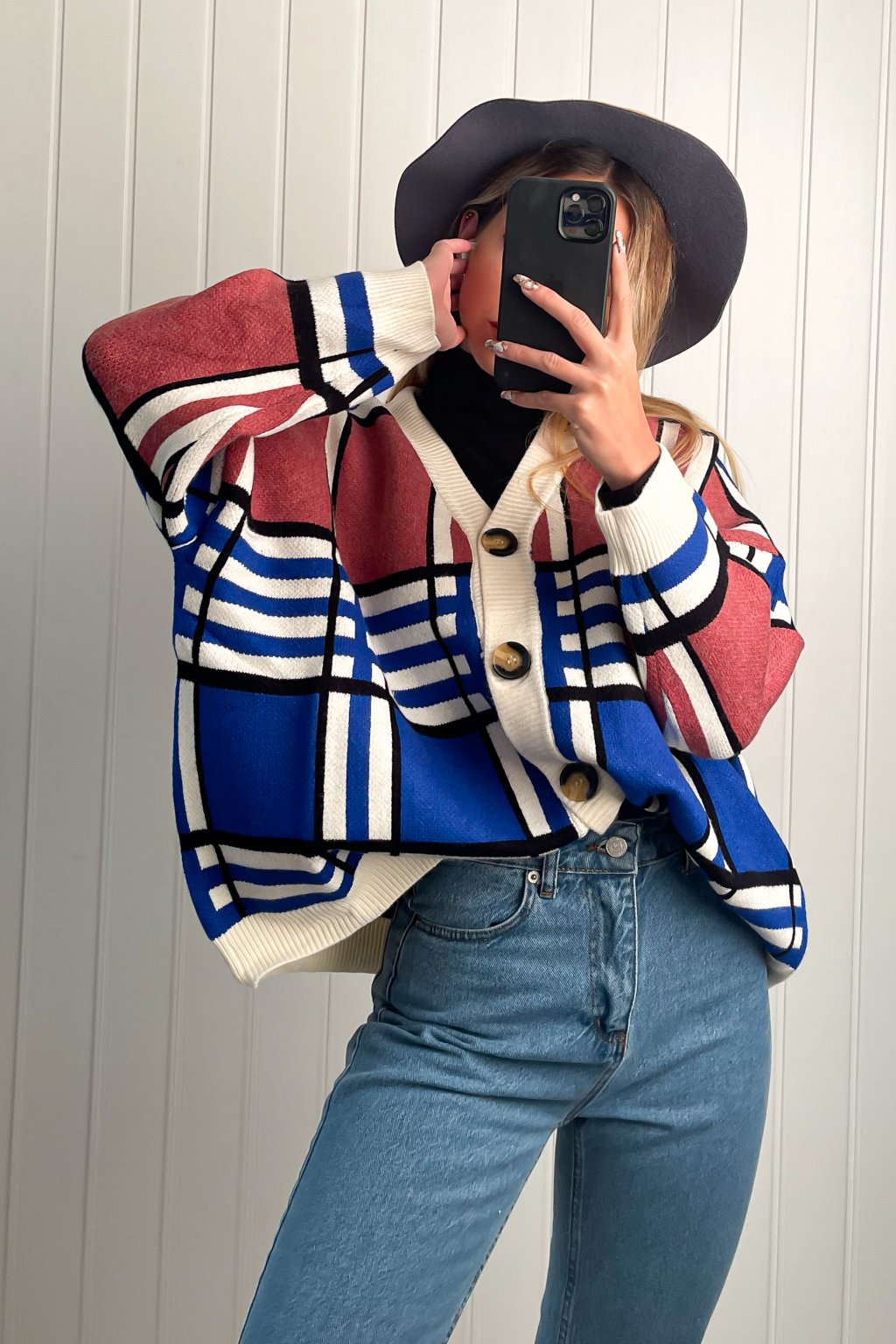 Oversize sveter na zapínanie