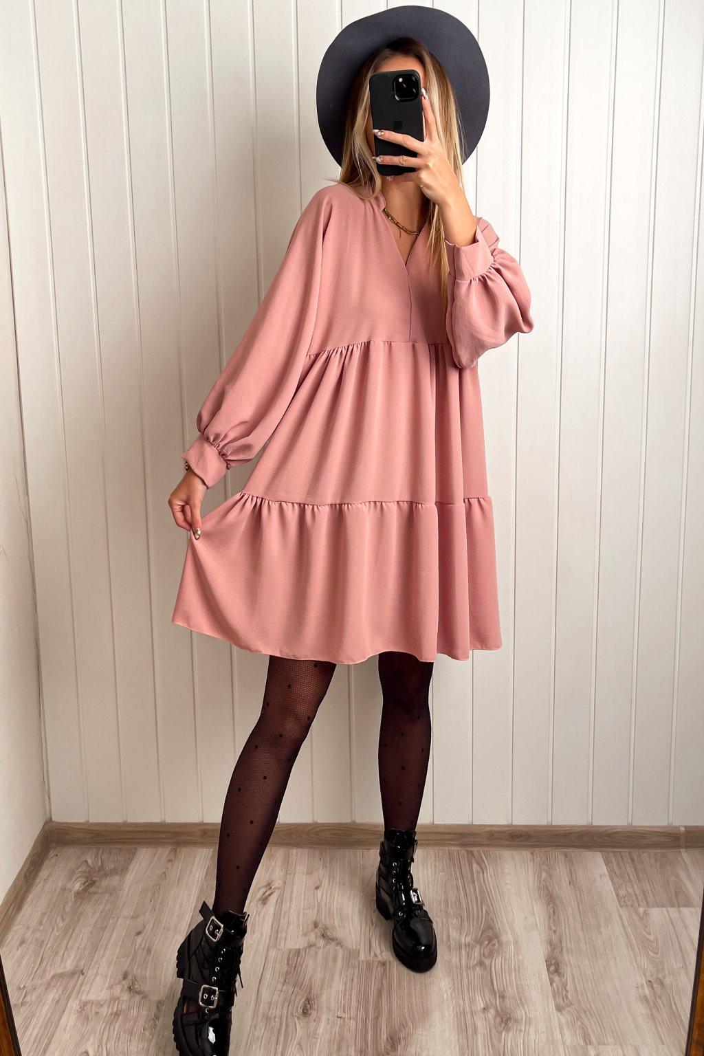 Oversize šaty ružové
