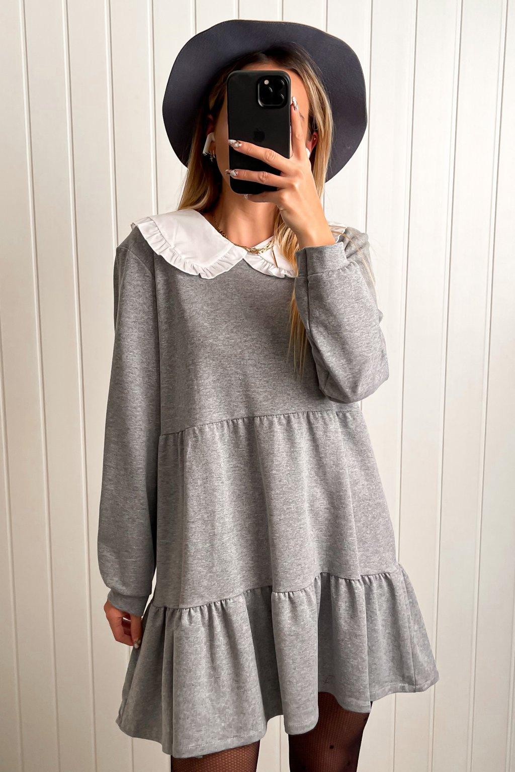 Pohodlné šaty s golierikom sivé
