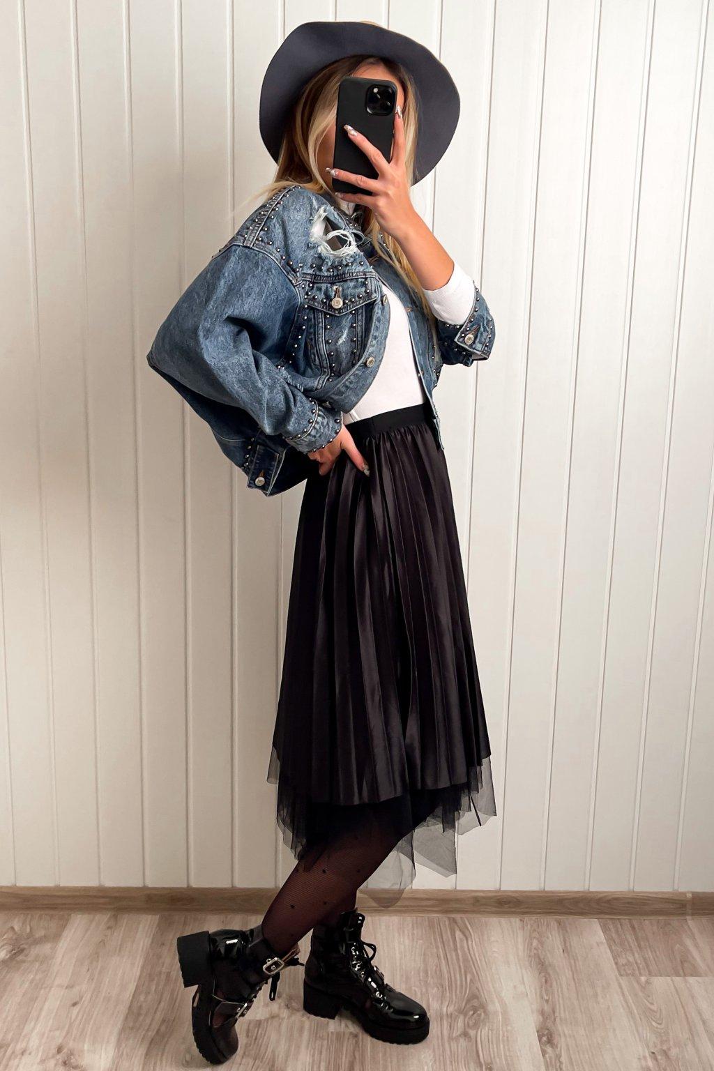 Obojstranná midi sukňa čierna