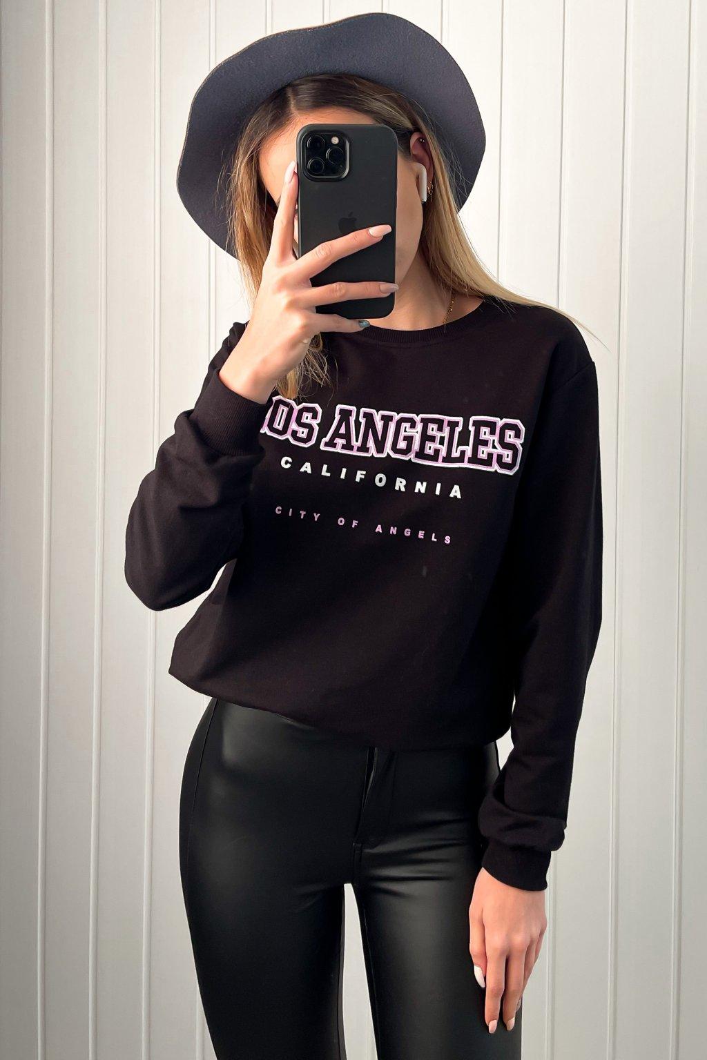 """Tenká mikinka s nápisom """"Los Angeles"""" čierna"""
