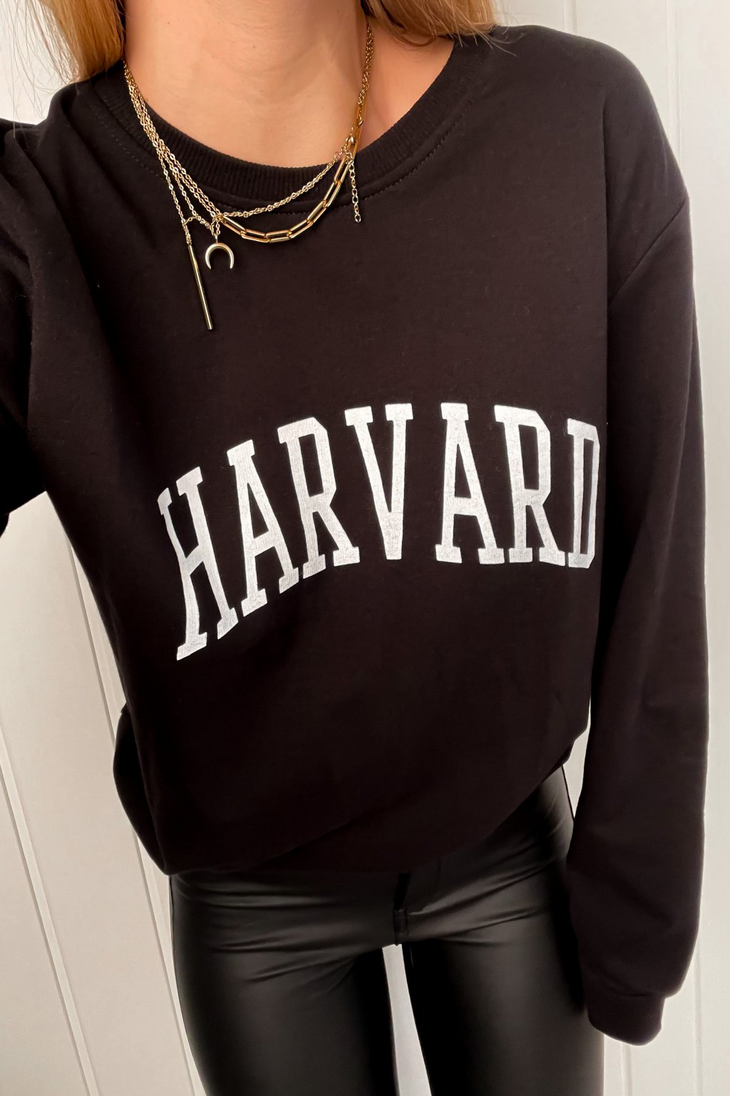 "Tenká mikinka s nápisom ""Harvard"" čierna"