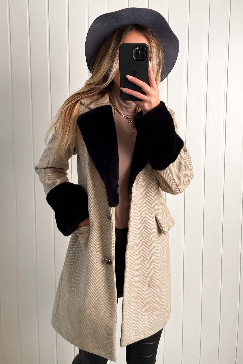 Vintage kabát s kožušinkou béžový