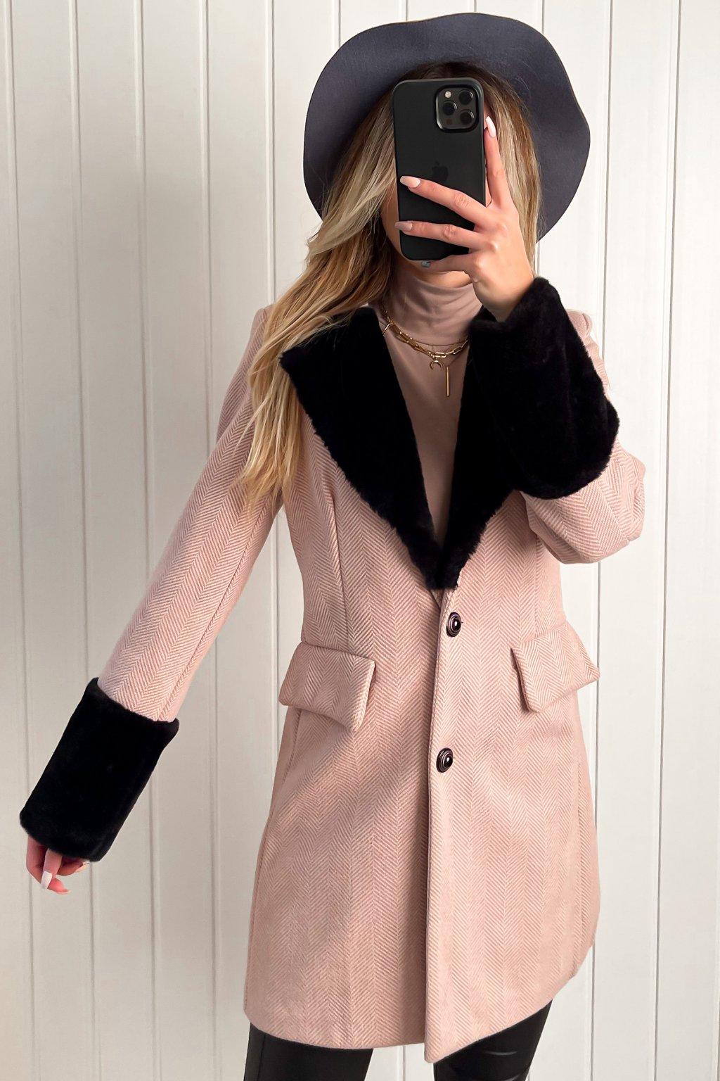 Vintage kabát s kožušinkou ružový