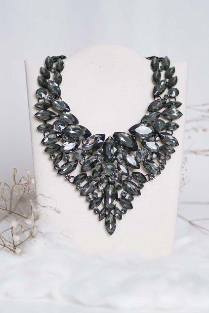 náhrdelník, spoločenský, bežný deň, kamienkový, farebný, čierny, strieborný, zelený, cyklamenévy, náhrdelník, bižuteria, šperk, šperky, ples, stužková, svadba, 001