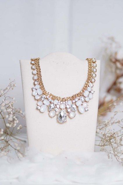 náhrdelník, spoločenský, bežný deň, kamienkový, farebný, čierny, strieborný, zelený, cyklamenévy, náhrdelník, bižuteria, šperk, šperky, ples, stužková, svadba, 094