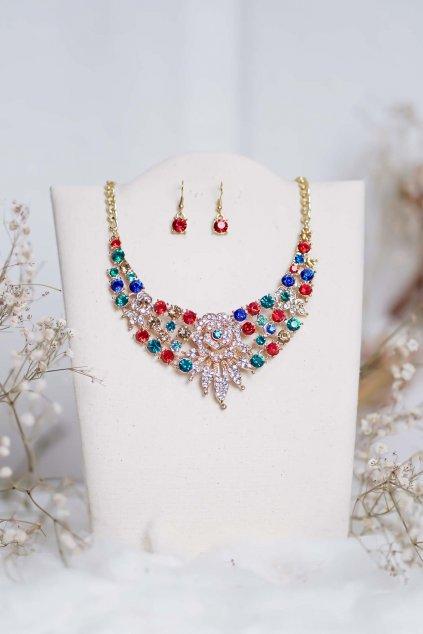 náhrdelník, spoločenský, bežný deň, kamienkový, farebný, čierny, strieborný, zelený, cyklamenévy, náhrdelník, bižuteria, šperk, šperky, ples, stužková, svadba, 087