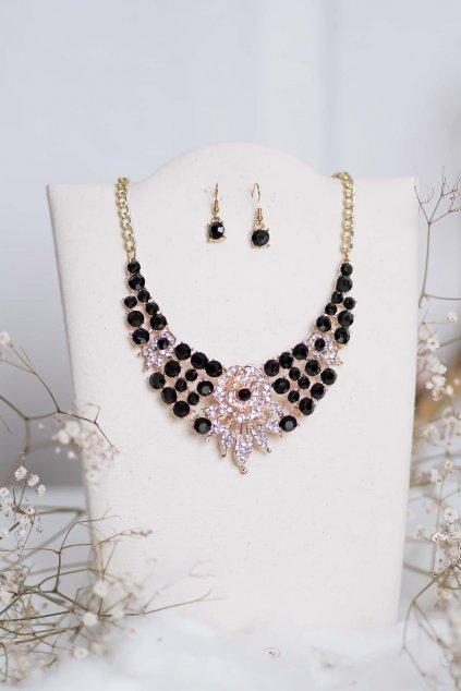 náhrdelník, spoločenský, bežný deň, kamienkový, farebný, čierny, strieborný, zelený, cyklamenévy, náhrdelník, bižuteria, šperk, šperky, ples, stužková, svadba, 081