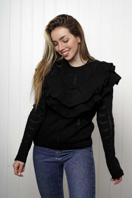 svetrík, pulover, čierny, zlaty, obtiahnutý, vrubkovaný 114