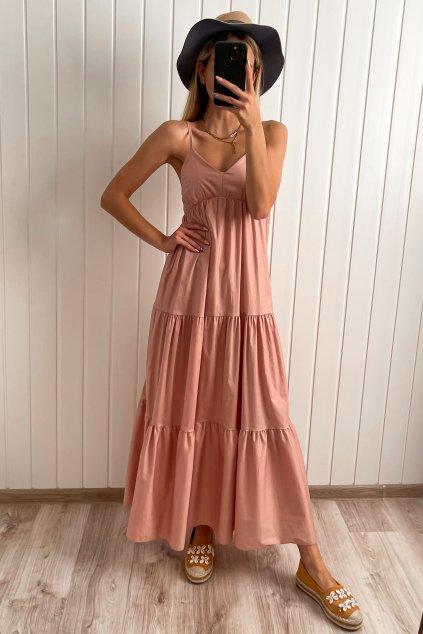 Bavlnené maxi šaty ružové