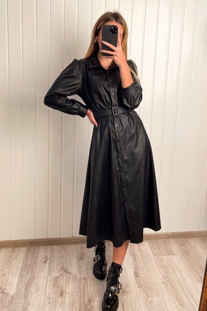 Koženkové midi šaty čierne