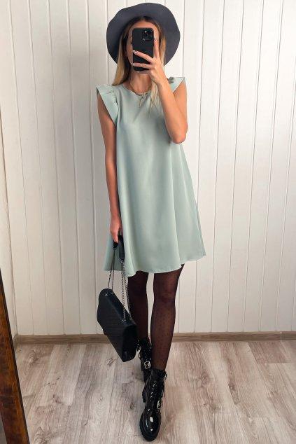 Mentolovo zelené šaty s volánikmi