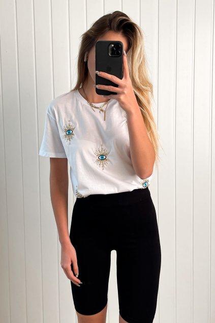 Tričko s výšivkou a korálkami
