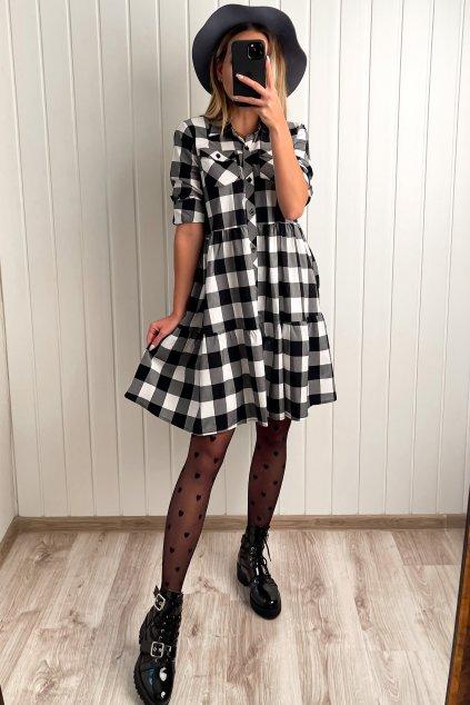 Košeľové šaty čierno-biele