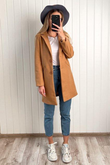 Kabát v rovnom strihu hnedý