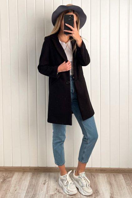 Kabát v rovnom strihu čierny