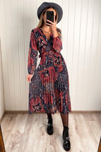 Šaty v midi dĺžke s plisovanou sukňou modré