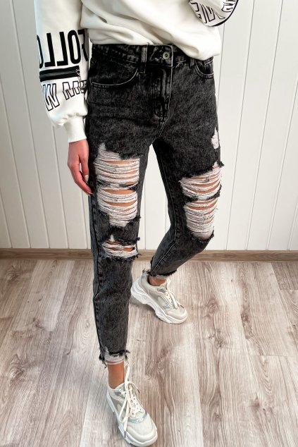 Potrhané džínsy sivé