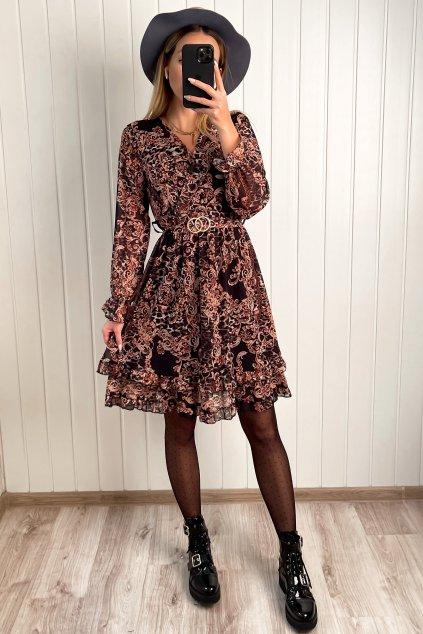 Šaty s dlhým rokávom a dvojvrstvovou sukničkou
