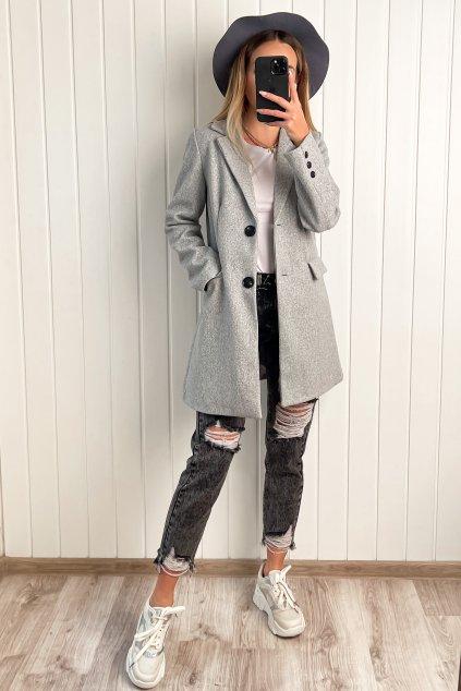 Prešívaný kabát v rovom strihu sivý