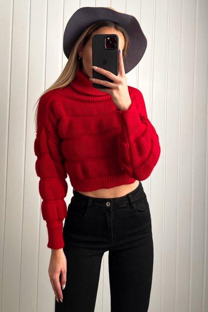 Skrátený rolákový sveter červeny