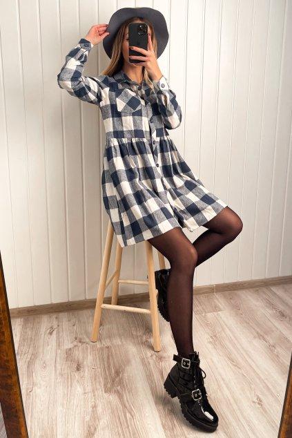 Flanelové modro-biele košeľové šaty