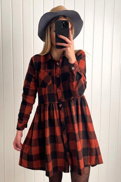Flanelové košeľové šaty