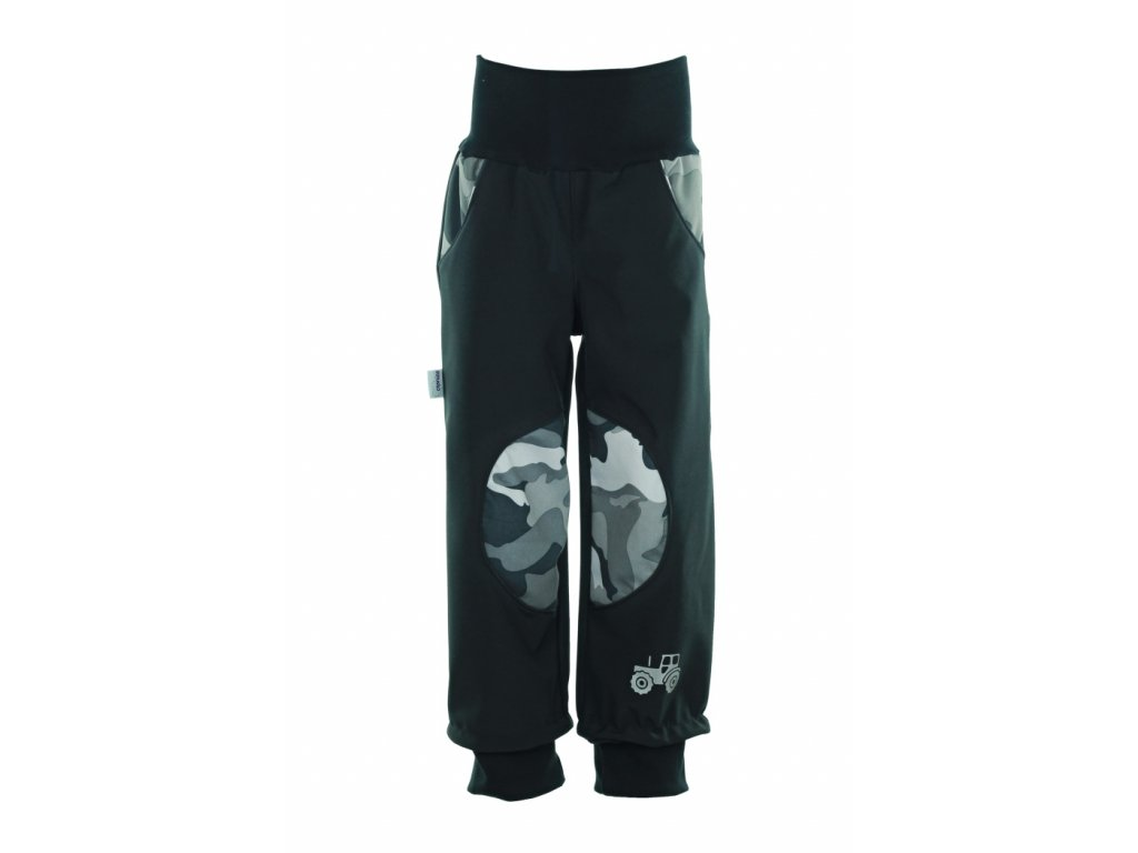 Zateplené softshellové kalhoty Maskáč na černé
