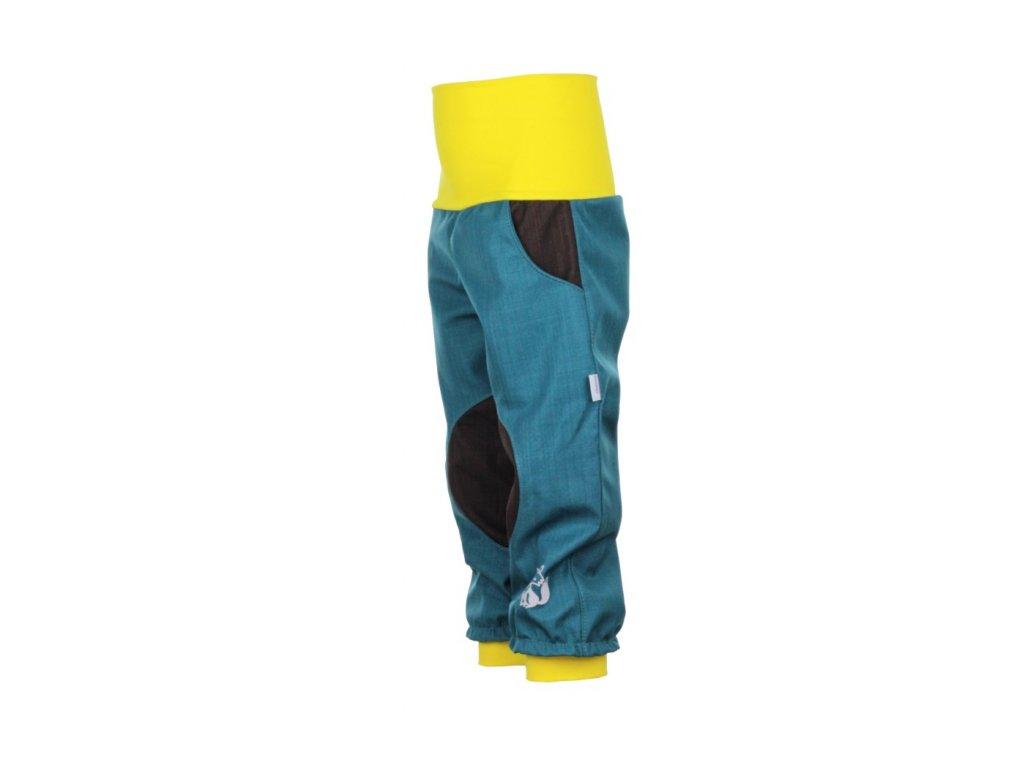 Dětské softshellové kalhoty Petrolejovo-hnědé