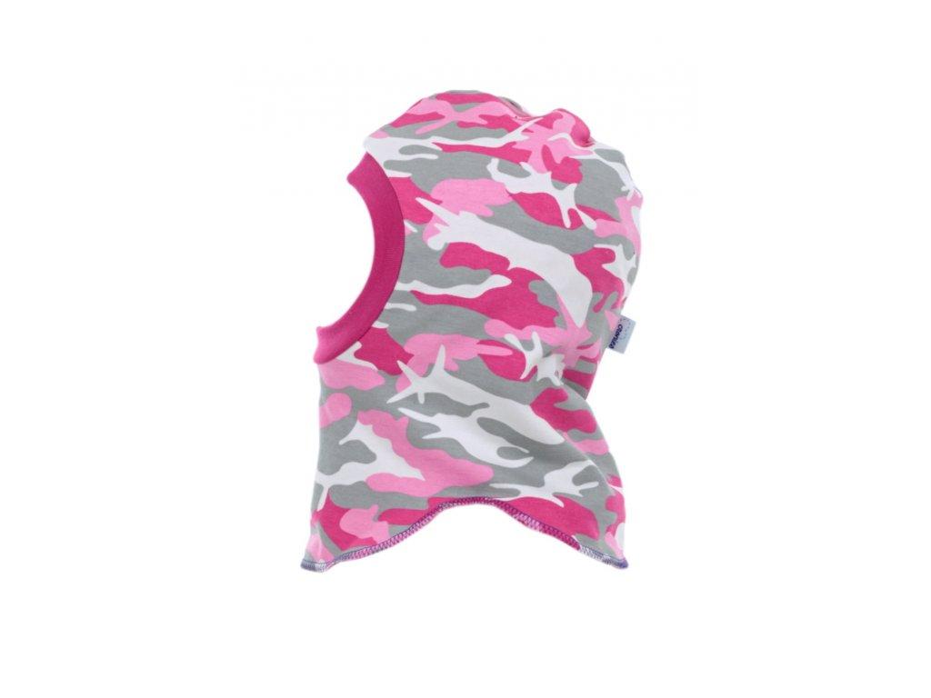 Dětská zimní kukla Růžový maskáč