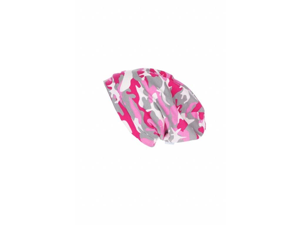 Dětská jednovrstvá čepice Růžový maskáč