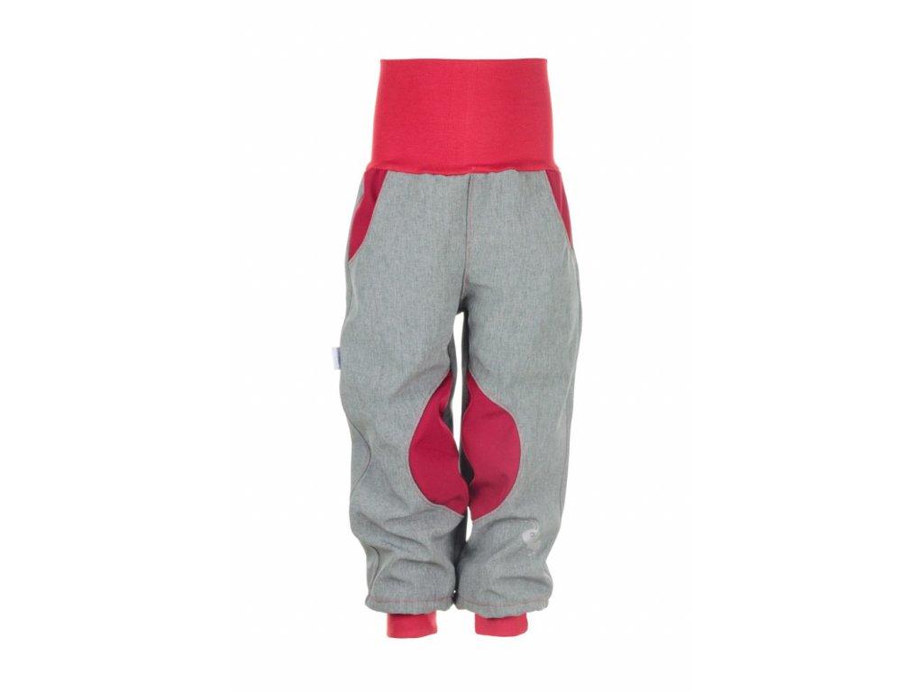 Zateplené softshellové kalhoty Šedo-červené