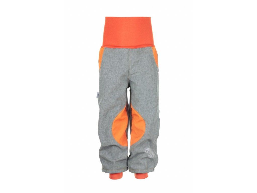 Zateplené softshellové kalhoty Šedo-oranžové