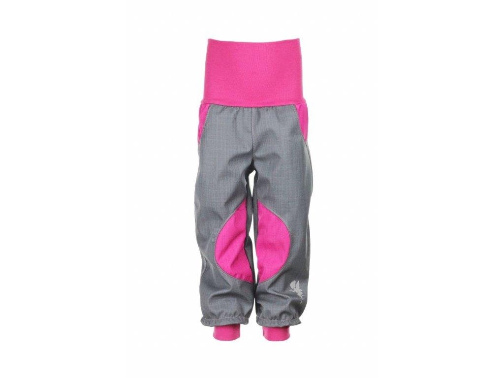 Nepromokavé softshellové kalhoty Šedo-růžové