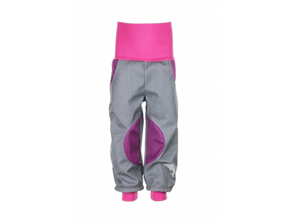 Nepromokavé softshellové kalhoty Šedo-fialové