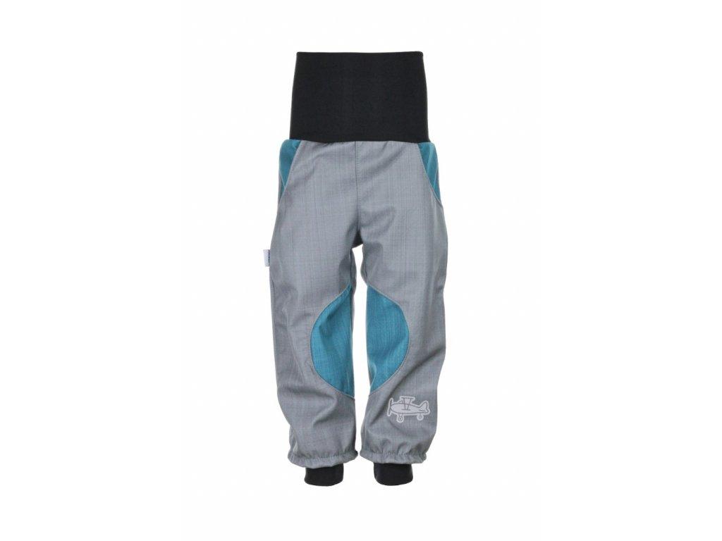 Nepromokavé softshellové kalhoty Šedo-petrolejové