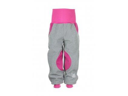 Zateplené softshellové kalhoty Šedo-růžové