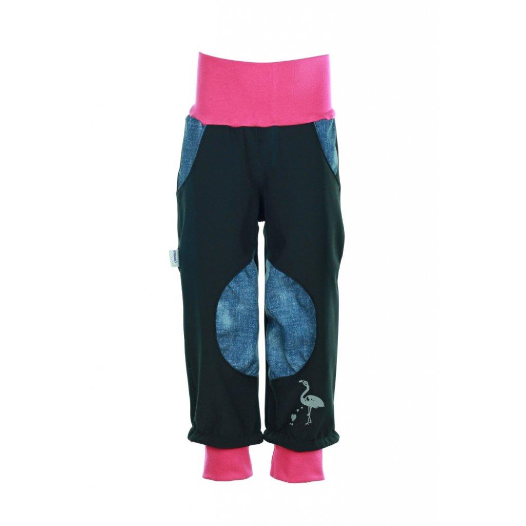 Detské softshellové nohavice Čierny s jeans dievča