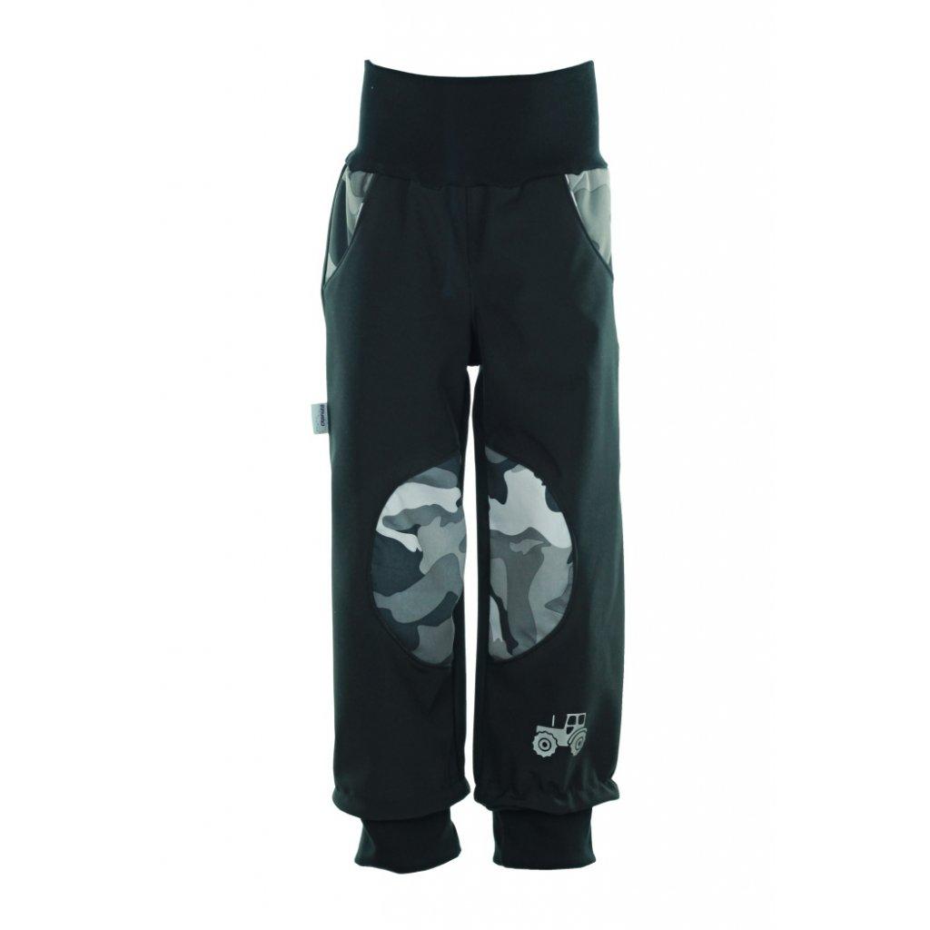 Detské softshellové nohavice Čierny s maskáčem
