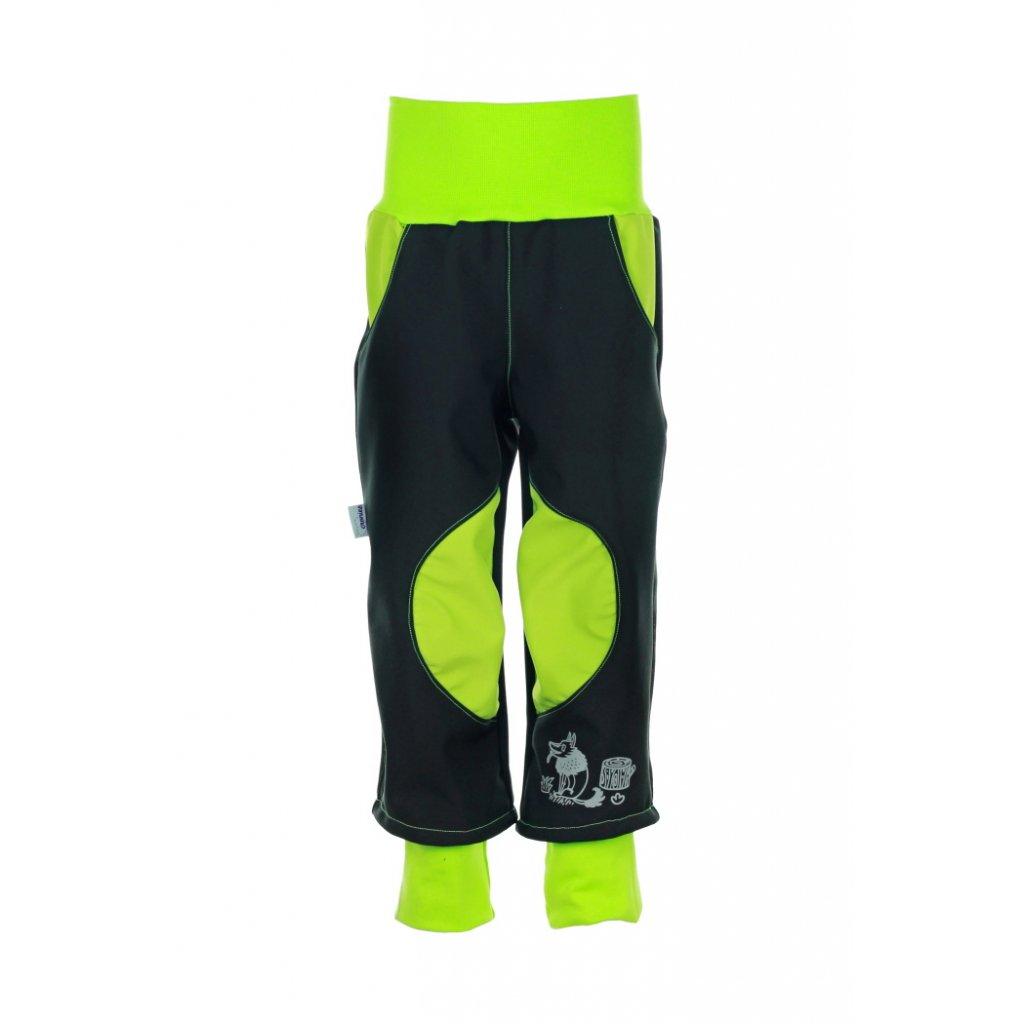 Detské softshellové nohavice Čierno-zelené