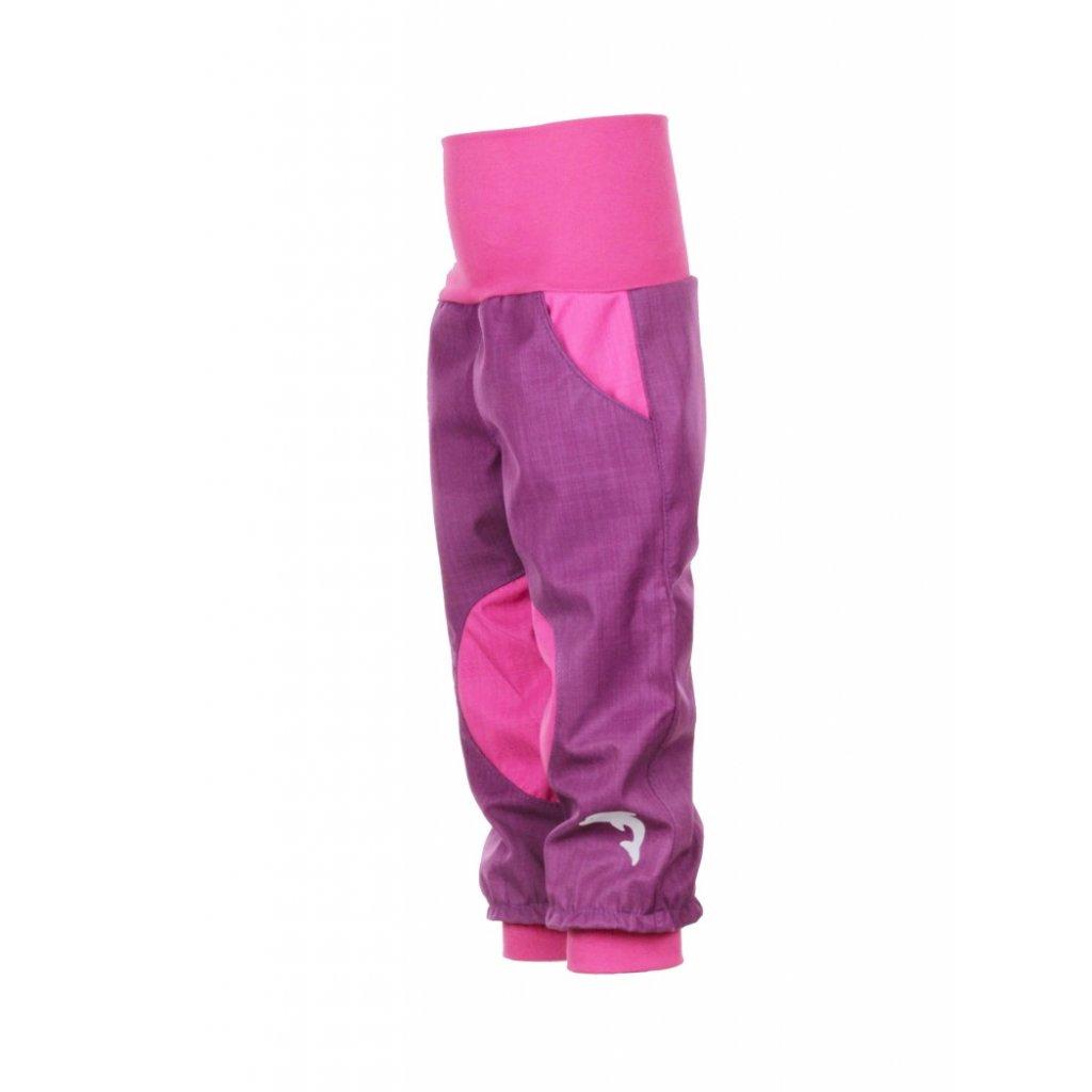 Detské softshellové nohavice Fialovo-ružové
