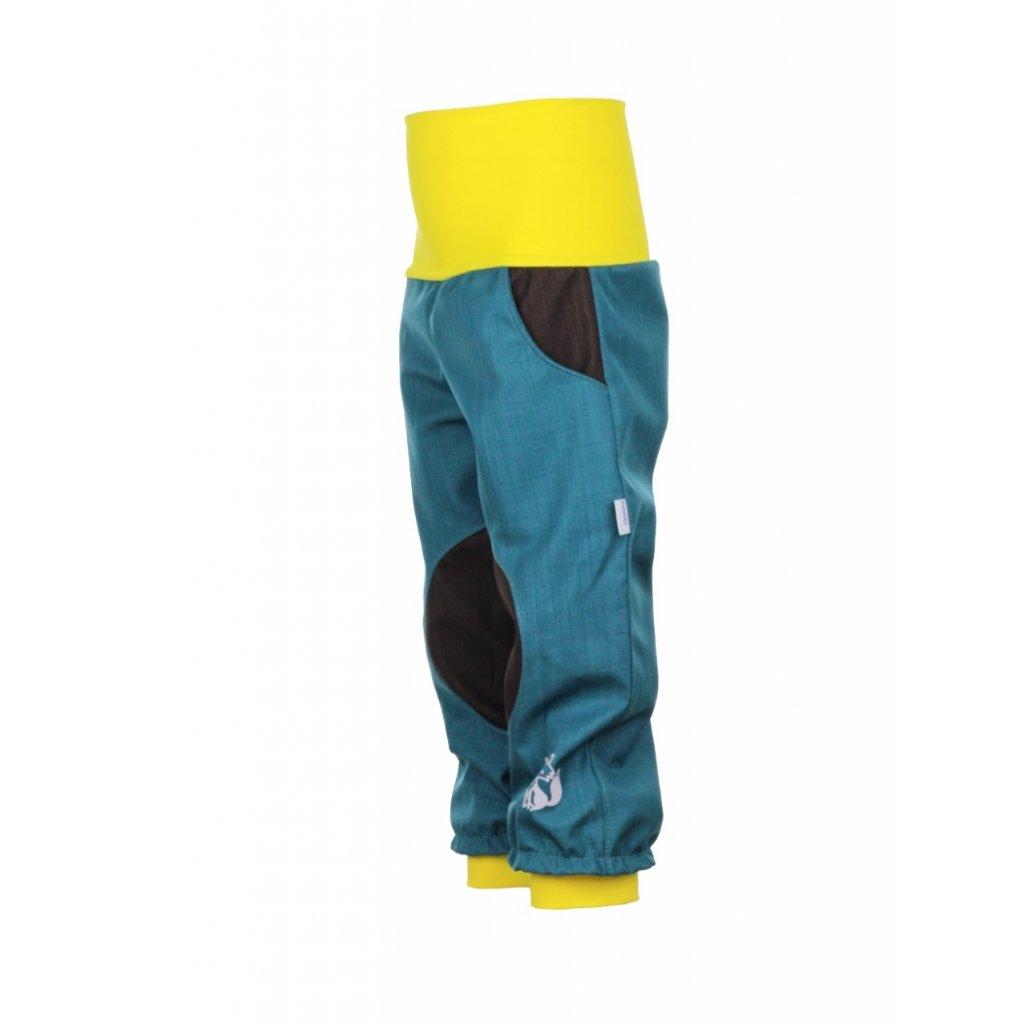Detské softshellové nohavice Petrolejovo-hnedé